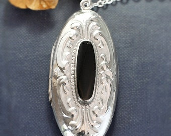 Long Oval Sterling Silver Locket Necklace, Large Embossed Vintage Pendant w/ Black Center - French Scroll
