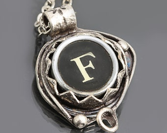 Letter F Necklace Typewriter Key Necklace Initial Necklace Personalized Pendant