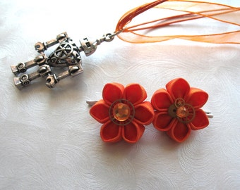 I <3 Robots Orange Kanzashi Mini Flowers with Clock Gears and Robot Necklace