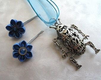 I <3 Robots Blue Kanzashi Gear Flower Pins with Robot Necklace