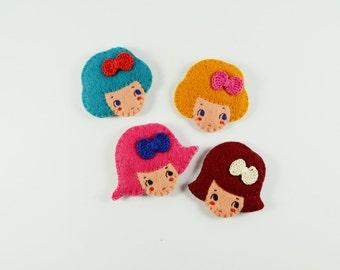50% SALE Bow Cookie Girl Head Felt Brooch / Cute Felt Girl Brooch / Girl Head Pin/ Fancy Girl Wearing a Crochet Bow/ Colorful Felt Brooch
