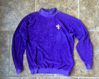 Purple Velour with Gold Emblem 80's Sweatshirt L