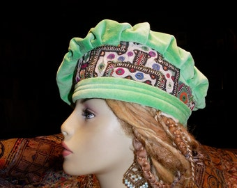 Hat Beret Mint Green Cotton Velvet Vintage Indian Embroidery and Mirror Work Asymmetrical Beret