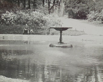 Vintage Photo - Man Sat by a Fountain