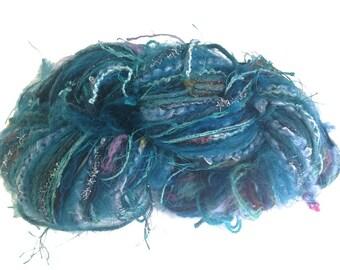Teal Knitting Crochet Yarn Art Yarn Weaving Yarn  Wool Mohair Cotton Blended Yarns Worsted Weight Fusion Yarn 200 yard skein
