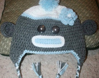 Made to order crochet sock monkey hat
