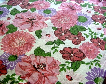 """Vintage Full Feedsack - Large Pink Purple Floral - Cotton Quilt Fabric Feed Grain Sack  37"""" x 41"""""""