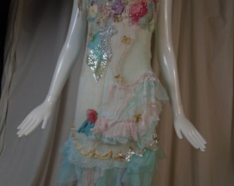Slip Dress Flapper Style Hydrangias Floating on the Pond Art to Wear Pastel Garden Inspired