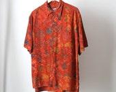 vintage 90s SURFER batik 90s TROPICAL short sleeve button up shirt