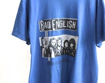 vintage 90s PUNK BAD ENGLISH proto punk vintage rock Tour 1990 t-shirt