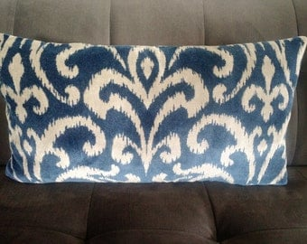 Navy Velvet Pillow Etsy