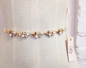 RESERVED- Gold Crystal Bridal Belt- Skinny Rose Gold Crystal Bridal Belt- Swarovski Crystal Bridal Sash- Simple Bridal Belt