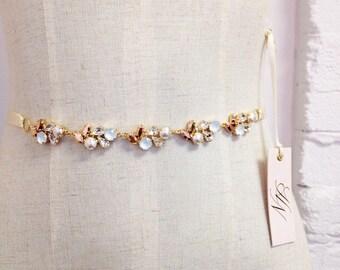 Gold Crystal Bridal Belt- Skinny Rose Gold Crystal Bridal Belt- Swarovski Crystal Bridal Sash- Simple Bridal Belt