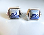 Vintage Cufflinks Flow Blue Delft China House Cuff Links