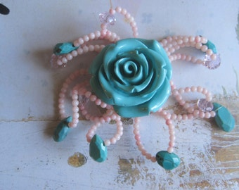 Handmade Blue Acrylic Rose with Pink Coral and Turquoise Leaf 40mm Pendant