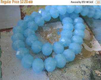 20% OFF ON SALE Sky Blue Faceted Rondelle 8mm Glass Beads, 20 pcs