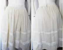 Vtg.50s Cream Rockabilly Swing Dance Picnic Full Skirt.Small.Waist 27