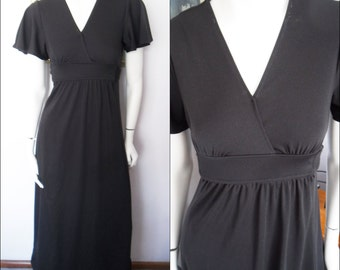 Vtg70s Black Noir Flutter Sleeve Maxi Dress.Small.Bust 34.Waist 32.