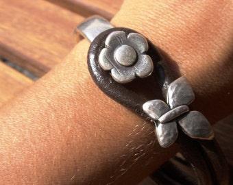 flower bracelet, womens bracelets, silver bracelet, leather bracelet, happy jewelry, stylish jewelry, girls accessories, girls Bracelet