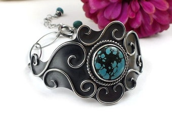 Silver metalwork bracelet, turquoise bracelet, sterling metalwork jewelry, retro bracelet, statement jewelry