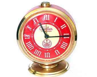 Vintage Soviet Alarm Clock  Slava Moscow Olympics 1980 Working Desk Table Clock Red 11 Jewels Made in USSR from Russia Soviet Union USSR