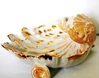 Soviet China Sea Shell Dish Porcelain Seashell Figurine 1980s from Ukraine USSR