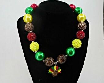 Thanksgiving Turkey chunky bubblegum Necklace for Little Girls Photo prop