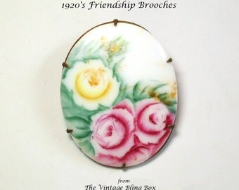 Porcelain Rose Flower Brooch with Yellow & Pink Roses Hand-painted and Prong Set in Brass Mounting - Art Deco 1920s Costume Jewelry