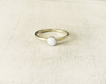 White enamel ring, hammered band ring, stackable ring, gold brass stackable ring, white gold ring