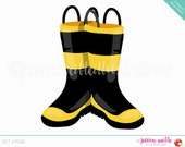 Instant Download Firefighter Boots Clip Art, Cute Digital Clipart, Boot Clipart, Rubber Boots Graphic, Firefighter Boots Illustration, #1094