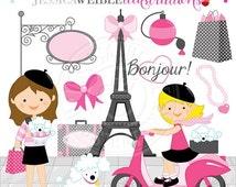 SALE Bonjour From Paris Cute Digital Clipart - Commercial Use Ok - Paris Clipart, Eiffel Tower clipart, Moped, Poodle Clipart