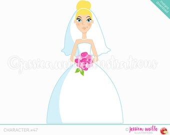 Blonde Forward Facing Bride Character Illustration, Wedding Bride, Bridal Illustration, Cartoon Bride, Pink Flowers, Weddings C047