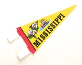 Mississippi Souvenir Pennant, Vintage Miniature Felt Flag in Yellow and Red