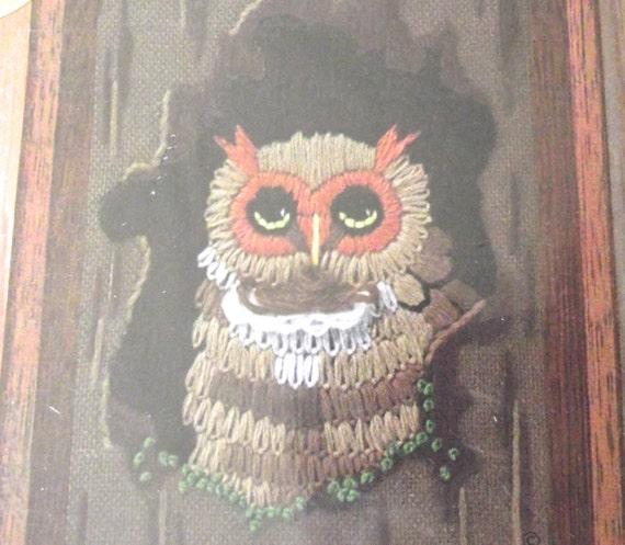 Owl Embroidery Kit Vintage Mini Unused Brown Little Tree