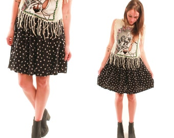 DAISY 80s Black and White Polka Dot Spotted Simple Chic Boho Preppy Party Indie Hip Rad Skirt Small S