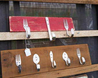 Antique wood with Silverware Hooks