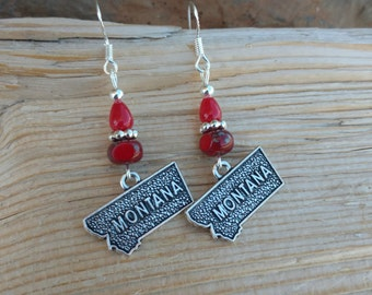 Red Montana Earrings, Red Montana Sterling Silver Earrings, State of Montana Earrings, Red State of Montana Sterling Earrings