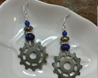 Purple Gold Gear Sterling Silver Earrings, Gold Purple Gear Sterling Silver Earrings, Gear Gold Earrings