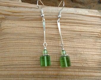 Long Green Silver Earrings, Long Silver and Light Green Earrings, Long Green Dangle Earrings, Silver Green Long Earrings