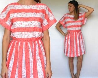 70s Coral Striped Dress   Summer Mini Dress, Medium