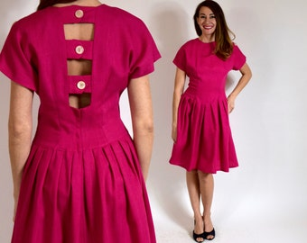 Vintage 80s Pink Dress Open Back Pleated Dress Pleated, Medium