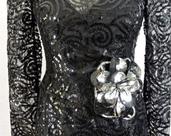 Lillie Rubin Black sequined cocktail formal dress VINTAGE beaded 8/M LACE 1980's with big shoulder pads