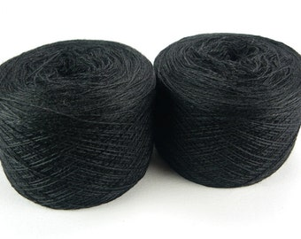 Black merino silk cashmere blend yarn for lace knitting or Haapsalu shawl knitting, measure 2/28, 100 grams (1526yard), cobweb weight