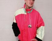 Vintage 90s neon ski jacket /snowboarding coat/ retro winter jacket/sun ice/pink lime green /skiing skating party /size XL