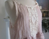 French Sugar Couture - Linen and Lace Collection - Up-Cycled Mauve Tank Top with Ruffle's and Lace - Altered