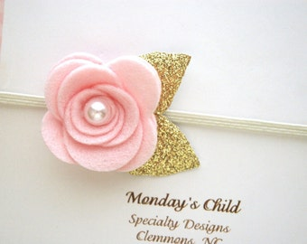 Pink And Gold Baby Headband, Felt Flower Headband, Pink and Gold Headband, Newborn Headband, Baby Headband, Toddler Headband, Girls Headband
