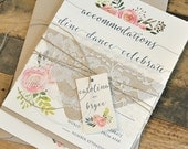 Jenna Watercolor Flowers Wedding Invitation Suite with Lace Band & Twine Tie with Monogram Tag