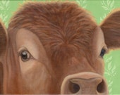 Cow Print - Red Cow Head -Cow Art - Funny Animal Art - 10% Benefits Animal Charity
