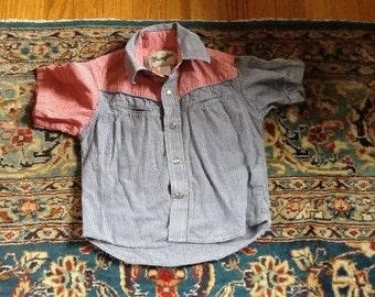 Vintage Wrangler Cowboy Western Shirt Gingham 3T 4T Snaps