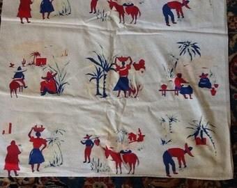 Mid Century Cotton Tablecloth Old Mexico Mexican Southwest Sombrero Vintage Retro